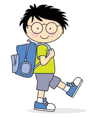 Ilustración de Child who goes to school with a backpack - Imagen libre de derechos