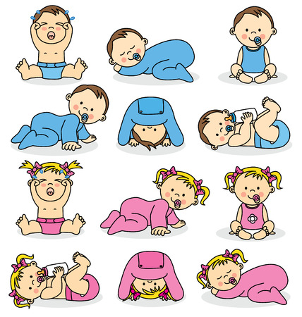 Photo pour Vector illustration of baby boys and baby girls  - image libre de droit
