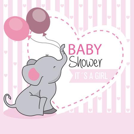 Ilustración de baby shower girl. Elephant with balloons - Imagen libre de derechos