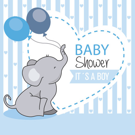 Illustrazione per baby shower boy. Elephant with balloons - Immagini Royalty Free