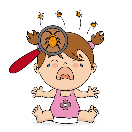 Illustration pour baby girl crying because she has lice - image libre de droit