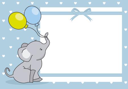 Illustration pour baby boy shower card. cute elephant with balloon. space for text - image libre de droit