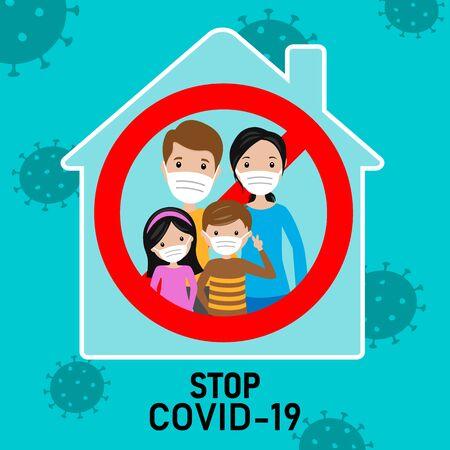 Ilustración de Family at home with masks to prevent covid-19 infections - Imagen libre de derechos