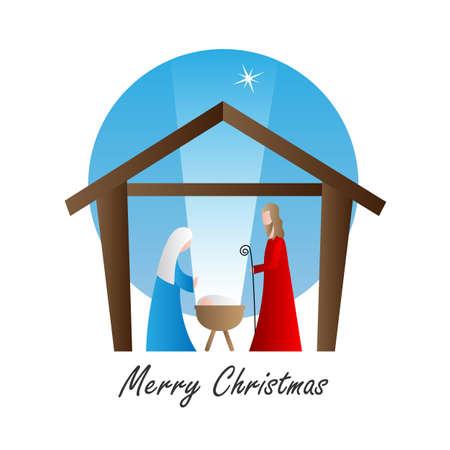 Ilustración de christmas nativity scene cartoon. Isolated vector - Imagen libre de derechos