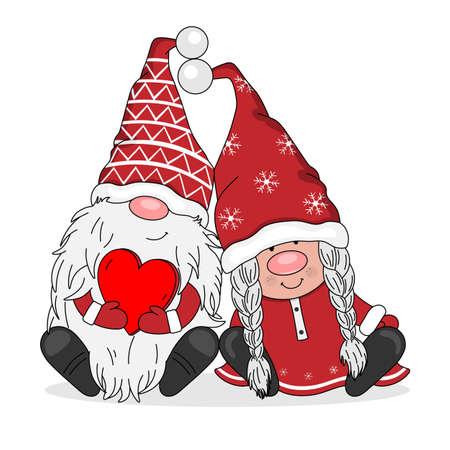 Ilustración de Couple of gnomes in love. Isolated vector - Imagen libre de derechos