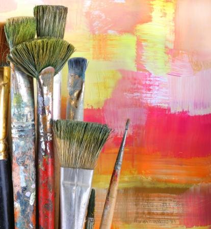 Photo for Paintbrush on painted background. - Royalty Free Image