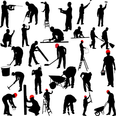 Photo for construction workers silhouettes collection - vector - Royalty Free Image