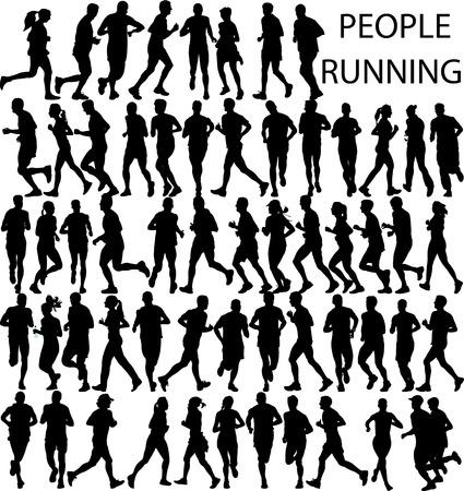 Ilustración de people running big collection - vector - Imagen libre de derechos