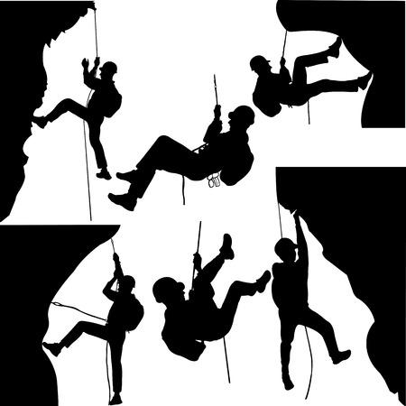 Illustration pour rock climbers silhouette collection - vector - image libre de droit