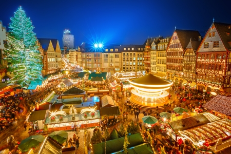 Photo for Traditional christmas market in the historic center of Frankfurt, Germany - Royalty Free Image