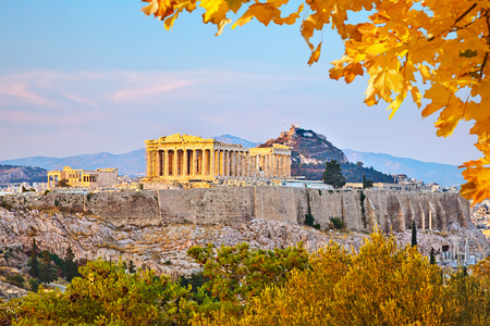 Photo for View on Acropolis at sunset, Athens, Greece - Royalty Free Image