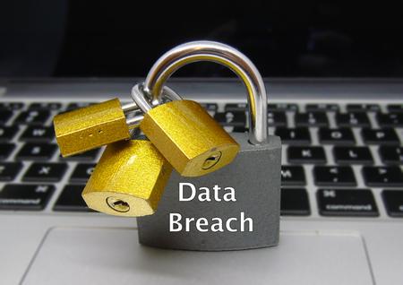 Foto de Data Breach Padlocks - Data Protection Concept - Imagen libre de derechos