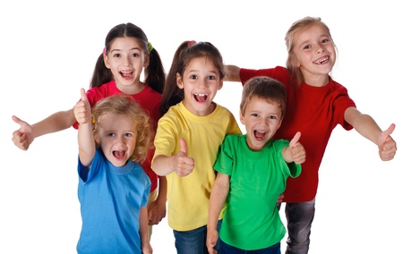 Group of happy children with thumbs up sign, isolated on white