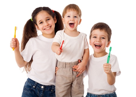 Happy family with toothbrushes, isolated on white