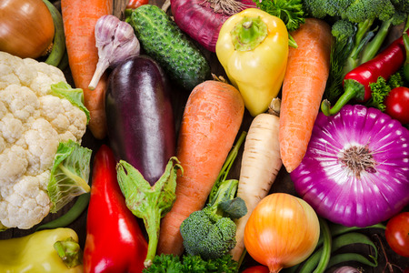 Assortment of colorful vegetables, summer food background