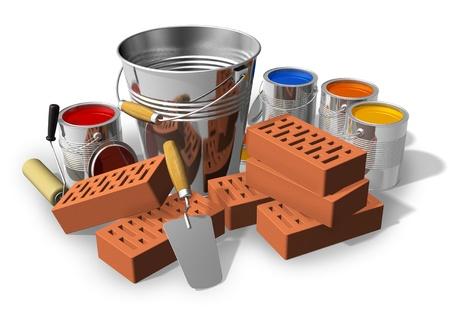 Photo pour Construction/home renovation concept: metal bucket, red bricks, trowel and set of color paints isolated on white background - image libre de droit