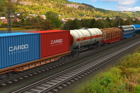 Scenery of the freight train passing by mountain range *** ALL TEXT LABELS ARE MY OWN AND FULLY ABSTRACT