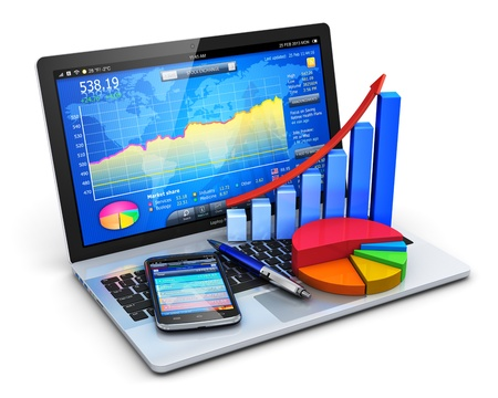 Foto de Mobile office, stock exchange market trading, statistics accounting, financial development and banking business concept  modern laptop or notebook computer PC with stock market application software, growth bar chart, pie diagram, ballpoint pen and touchsc - Imagen libre de derechos