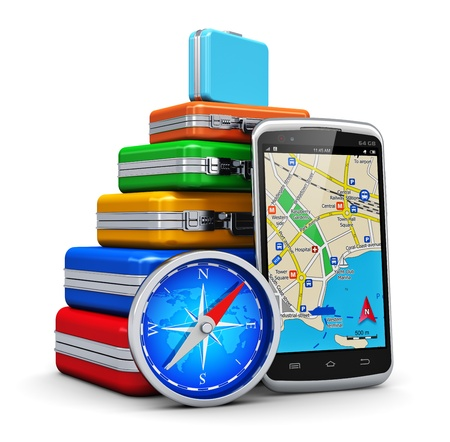 Foto de Creative business travel, tourism and GPS navigation concept  stack of color traveling cases or bags, modern black glossy touchscreen smartphone with GPS navigation  map application and blue metal magnetic compass isolated on white background - Imagen libre de derechos