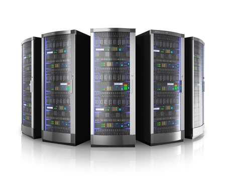 Foto de Row of network servers in data center isolated on white background with reflection effect - Imagen libre de derechos