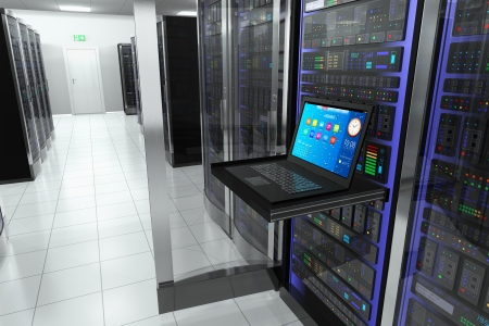 Foto de  terminal monitor screen display in server room with server racks in datacenter interior - Imagen libre de derechos