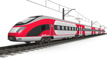 Railway transportation and railroad industry concept  red modern high speed electric streamlined fast train on rail track isolated on white background