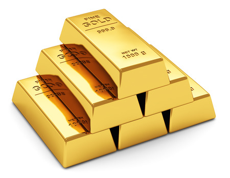 Foto de Creative abstract business success, financial growth, banking, accounting and stock exchange trade market corporate concept  stack of shiny gold ingots, bars or bullions isolated on white background - Imagen libre de derechos
