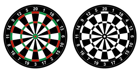 Illustration pour illustration of color and black and white dartboard for darts game isolated on white background - image libre de droit