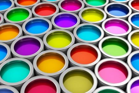 Photo pour Abstract creativity concept  group of tin metal cans with color paint dye - image libre de droit