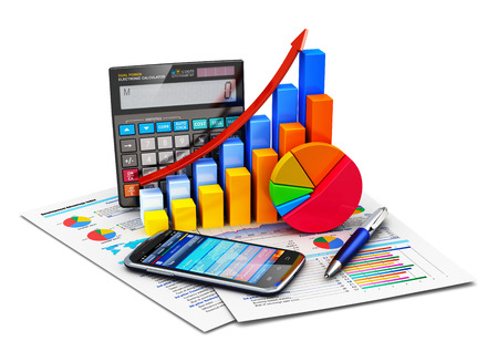 Foto de Creative abstract business financial success, tax and accounting, statistics and analytic research concept  office electronic calculator, color bar graph charts, pie diagram, smartphone and pen on financial reports isolated on white background - Imagen libre de derechos