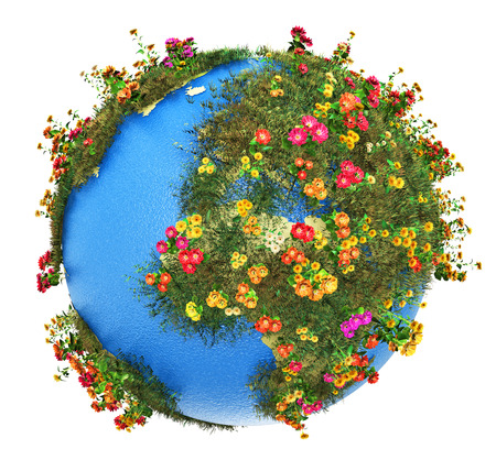 Photo pour Creative abstract global ecology and environment protection business concept  mini green Earth planet globe with world map with green grass and color meadow flowers isolated on white background - image libre de droit