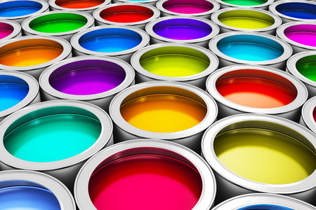 Photo pour Abstract creativity concept  group of tin metal cans with color paint dye - image libre de droit