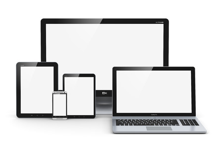 Foto per Creative abstract computer technology, mobility and communication business concept  laptop, notebook or netbook PC, mini tablet computer, touchscreen smartphone and desktop monitor display screen TV isolated on white background - Immagine Royalty Free