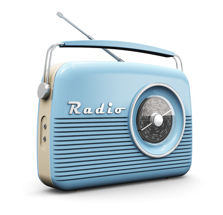 Photo for Old blue vintage retro style radio receiver isolated on white background - Royalty Free Image