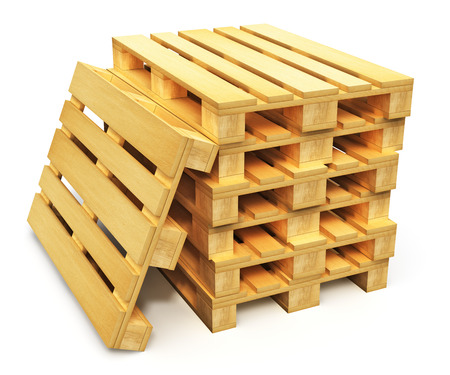 Photo for Logistics, cargo transportation and freight shipment concept  stack of wooden shipping pallets isolated on white  - Royalty Free Image