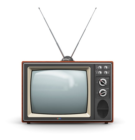 Foto de Creative abstract communication media and television business concept  old retro color wooden home TV receiver set with antenna isolated on white background - Imagen libre de derechos