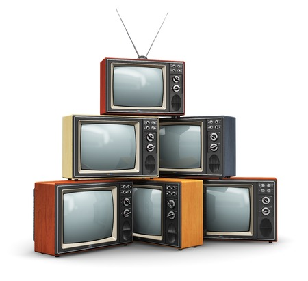 Photo for Creative abstract communication media and television business concept  stack or pile of old retro color wooden home TV receiver sets with antenna isolated on white background - Royalty Free Image