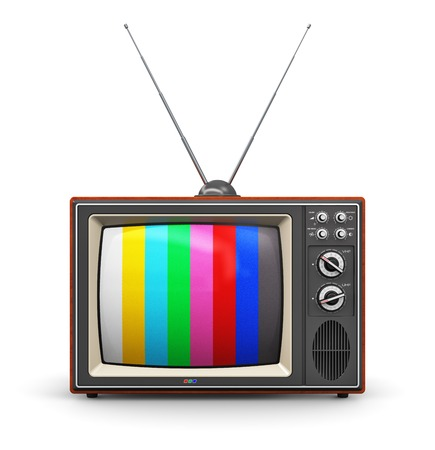 Photo for Creative abstract communication media and television business concept  old retro color wooden home TV receiver set with antenna isolated on white background - Royalty Free Image
