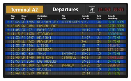 Illustration pour illustration of airport departure board with timetable of airliner flights - image libre de droit