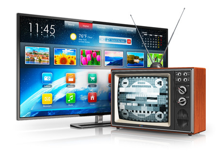 Foto de Creative abstract television evolution and digital multimedia technology and media entertainment concept  old wooden CRT TV with antenna and new modern smart tv with colorful interface isolated on white background with reflection effect - Imagen libre de derechos