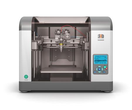 Foto de Creative abstract new technologies concept: modern professional plastic 3D printer isolated on white background - Imagen libre de derechos