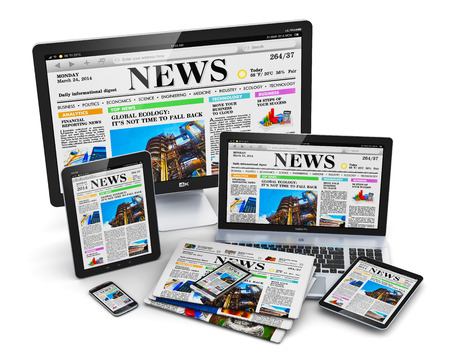 Photo for Modern computer media devices concept: desktop monitor, office laptop, tablet PC and black glossy touchscreen smartphones with internet web business news on screen and stack of color newspapers isolated on white background - Royalty Free Image