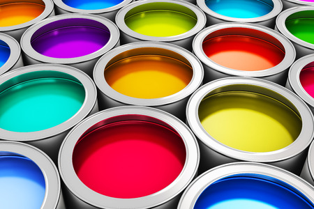 Foto de Abstract creativity concept: group of tin metal cans with color paint dye - Imagen libre de derechos