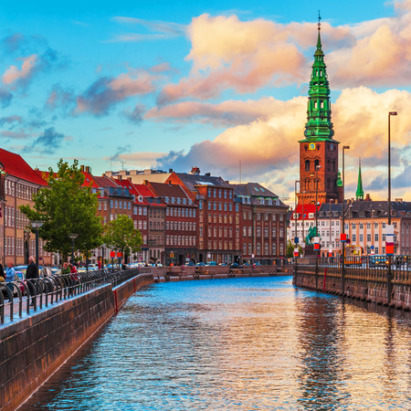 Photo for Scenic summer sunset in the Old Town of Copenhagen, Denmark - Royalty Free Image