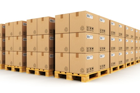 Photo pour Creative abstract shipment, logistics, delivery and product distribution business industrial concept: storage warehouse with rows of stacked cardboard boxes with packed goods on wooden shipping pallets isolated on white background - image libre de droit