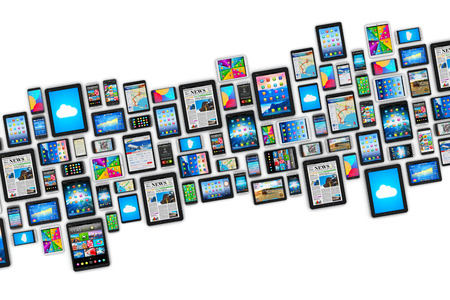 Foto de Creative abstract mobility and digital wireless communication technology business concept: group of tablet computer PC and modern touchscreen smartphones or mobile phones with colorful display screen interfaces with icons and buttons isolated on white bac - Imagen libre de derechos