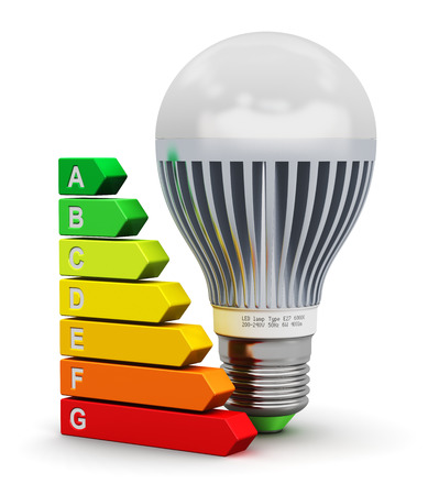 Foto de Creative abstract power saving technology and green nature environment conservation ecology business concept: modern LED electronic E27 lamp and color energy rating comparison scale isolated on white background - Imagen libre de derechos