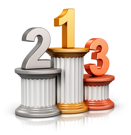 Foto de Creative abstract winning, business competition and leadership, award ceremony and success and achievement concept: pedestal with first, second and third place with gold, silver and bronze numbers isolated on white background with reflection effect - Imagen libre de derechos