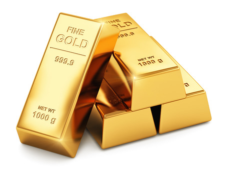 Foto de Creative abstract business success, financial growth, banking, accounting and stock exchange trade market corporate concept: stack of shiny gold ingots, bars or bullions isolated on white background - Imagen libre de derechos