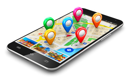 Foto de Creative abstract GPS satellite navigation, travel, tourism and location route planning business concept: modern black glossy touchscreen smartphone or mobile phone with wireless navigator map service internet application on screen and group of colorful d - Imagen libre de derechos